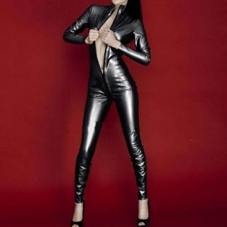 Stand up collar Body Satin Spandex /w Latex Suit Black