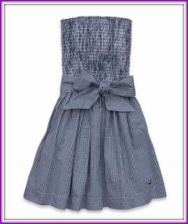 2012 HOLLISTER Womens STRAPLESS DRESS Soft Smocked Top MICRO CHECKED