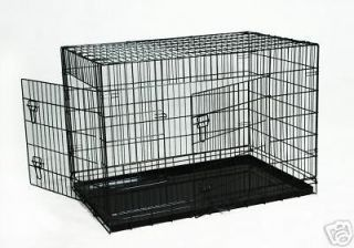 Black Large 24 X 20 X 23 Pet Folding Dog Cat Crate Cage Kennel w