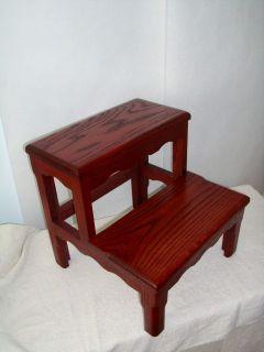 Solid Oak Bed Step Stool Dark Cherry Wooden wood