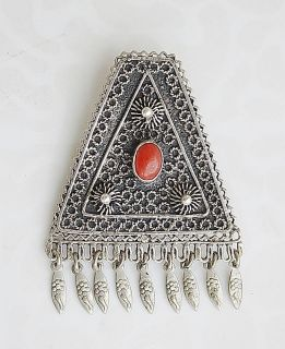 YEMENITE CORAL FILIGREE SILVER STERLING BROOCH PENDANT PALESTINE