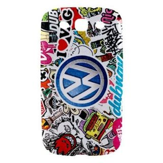 Funny VW Sticker Bomb Samsung Galaxy S3 III Phone Hard Case Cover