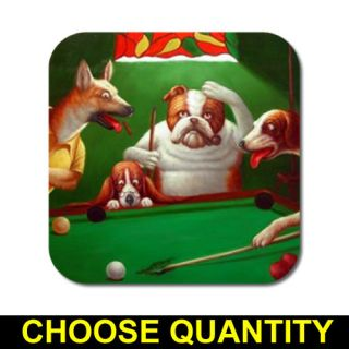 Dogs Playing Pool #1 Coaster Set [Free Shipping]