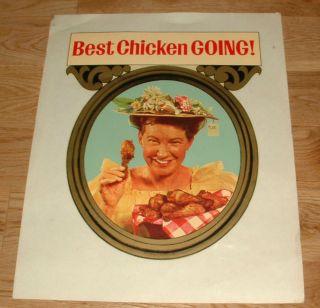 Vintage Window Decal Sign Minnie Pearl Fried Chicken Restaurant