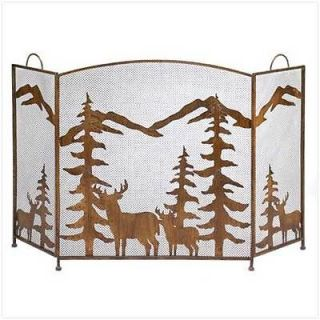Fireplace Hearth Spark Screen Rustic Deer Pine Forest Mountain