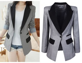 SR Women High Quality Slim Collar Power Shoulder Elegant Suit Coat