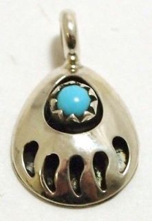Navajo Turquoise Sterling Silver Bear Paw Charm Pendant   Joey McCray