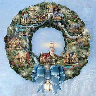 thomas kinkade christmas village wreath in Decorative Collectibles