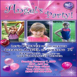 BOYS CUSTOM PHOTO GYMNASTICS TUMBLING BIRTHDAY PARTY INVITATIONS CARD
