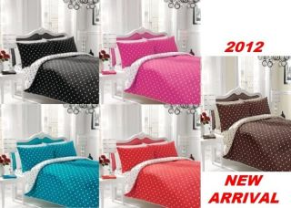 Polka Dot Duvet Cover Pillow Case Fitted Sheet Complete Bedding Set