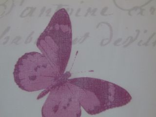 Designer Curtain Fabric Butterfly Script Voile Teal Mauve Lime on