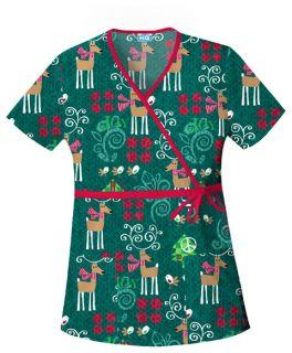 Cherokee NWT Christmas Scrub top (Peaceful Reindeer) 4788C PUDR