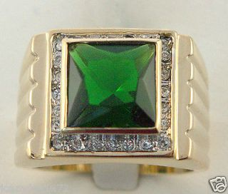 MENS lab created 9.1 carat Montana Emerald ring 18k yellow gold