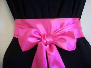 X85BRIGHT NEON PINK SATIN SASH BELT SELF TIE BOW FOR DRESS