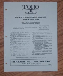 TORO OWNERS MANUAL / PARTS CATALOG 4HP LAWN TRACTOR
