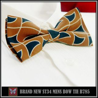 BRAND NEW* RED BROWN&NAVY GEOMETRIC PRINTING UNIQUE TUXEDO MENS BOW