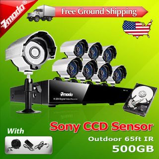 DVR Outdoor CCD CCTV Video Surveillance Security Camera System 500GB