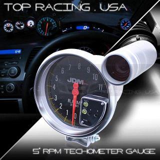JDM Sport Universal 5 Carbon Fiber Look 11K RPM Tachometer Gauge w