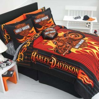 HARLEY DAVIDSON RIDER FLAME TWIN COMFORTER SET BOYS TEEN BEDDING NEW