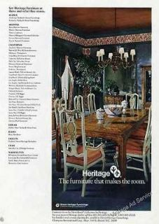 1976 Drexel Heritage Dining Room Vintage Furniture Ad