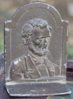 LINCOLN? Bas Relief Bookend book end metal single antique? vintage old