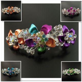 New Antique Vintage Crystal Rhinestone Flower Charm Hair Clip Barrette