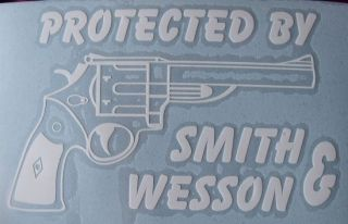 Protected By Smith & Wesson vinyl window sticker/decal/sign