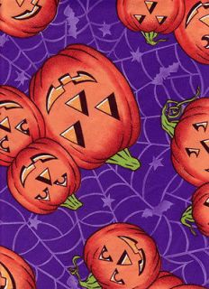 Halloween Vinyl Tablecloth Purple Orange Carved Pumpkin Spider Web