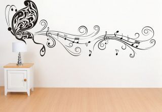 music Decal butterfly wall stickers CHOPIN bass violin vinyl guitar