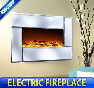 Wall Mounted Electric Fireplace Heater Remote Control Mirror Glass