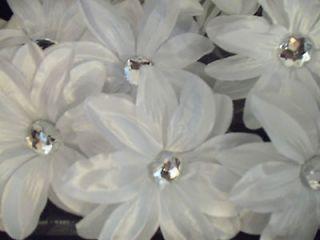 lot 12 TROPICAL gerbera DAISY flower WEDDING tutu HAIR WHITE glitz NEW