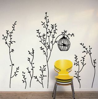Bird Cage&Trees Removable Wall Decals Vinyl Black Gray Home Decor