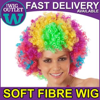 CIRCUS RAINBOW AFRO COSTUME WIG Madagascar 3 Clown Womens Fancy Dress