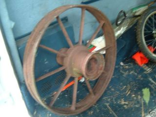 vtg antique cast iron farm wagon wheel rustic implement