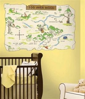 Winnie the Pooh & Friends 100 Aker Wood Map Giant Decal, NEW SEALED