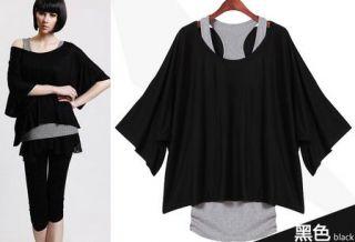 women tank top batwing short Sleeve loose tops Blouses T shirt vest