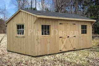 10 x 16 Saltbox Roof Style Storage Shed Plans, #71016