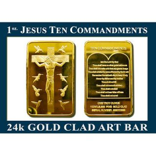 TROY OZ JESUS TEN COMMANDMENTS GOLD CLAD 24k ART BAR WIN NOW COLLECT