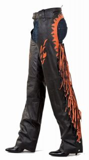 New Womens Leather Chaps Harley Orange NWT Black