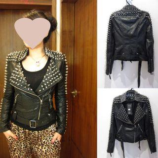 New Womens Punk Spike Studded Shoulder PU Leather Jacket Coat