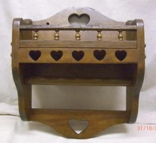 VINTAGE COUNTRY PAPER TOWEL HOLDER WITH SHELF & SPINDLED RAIL