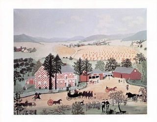 GRANDMA MOSES print New York farm CHECKERED HOUSE