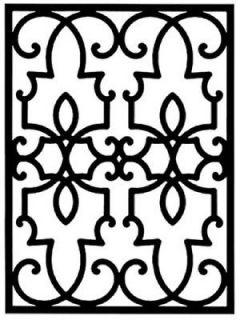 Wrought Iron Rectangular Wall Art Décor Style 199 Black 23.75 x 32