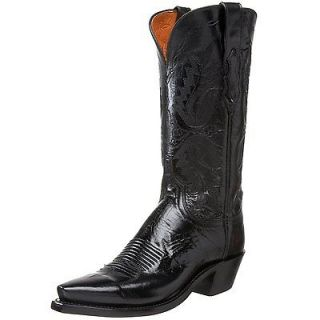 Womens Lucchese1883 N 4501.54 Cowboy Western Boots, Black Leather