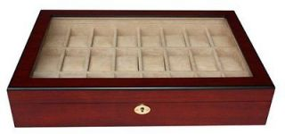 20 + 4) CHERRY WOOD ROSEWOOD WATCH DISPLAY CASE GLASS JEWELRY BOX MENS