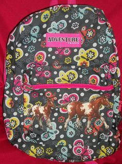 NEW Girls Butterflies HORSE Backpack book bag~Sparkle~Gl​itter