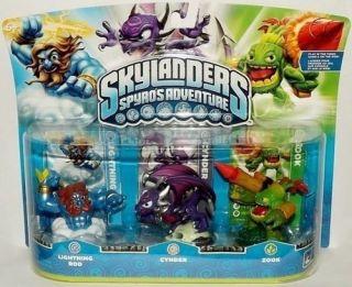 Skylanders Lightning Rod, Cynder, & Zook 3 Pack Skylander