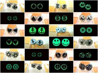 Pattern Select Hot Cool Fluorescent Fake Ear Plugs Earrings Stud
