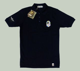 New Bathing Ape Men Polo Shirts Clothing Embroidered Wing & Bapesta in