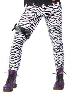 Adult Mens Zebra Print 80s Glam Rock Halloween Costume Pants